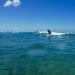 James Reingold learning to surf waves at Ala Moana, Oahu, Hawaii