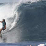Nancy Emerson surfing Namotu Lefts during surf clinics in Fiji